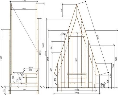 Дачный туалет шалаш чертежи и размеры Статьи